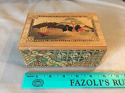 "Vintage Mt Fuji Boat Bird Flower Japanese Trinket Puzzle Box ~ 5.5"" x 2.5"" x 4"""