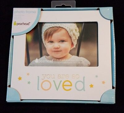 """4X6 photo Pearhead White """"You Are So Loved"""" Wall or Desk Wooden Photo Frame NIB"""