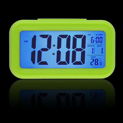 Digital LCD Snooze Electronic Alarm Clock with LED Backlight Light Control green