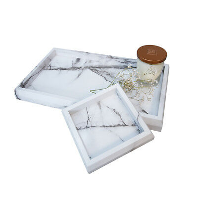 Roomfitters Marble Print Vanity Tray Set, Bathroom Catchall perfume Candle Tray
