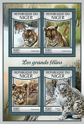 Niger 2017 MNH Big Cats Tigers Leopards Cougars 4v M/S Wild Animals Stamps