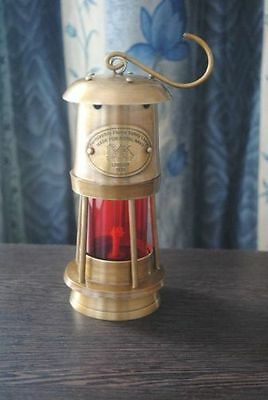 """8"""" Antique Vintage Style Brass Nautical Miner Ship Lantern Oil Lamp Red Glass"""