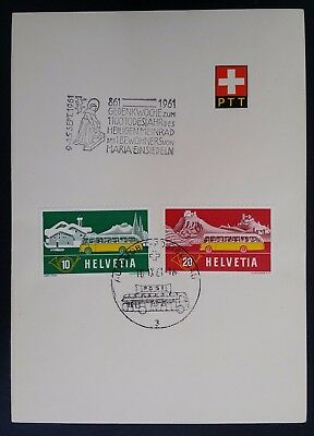 SCARCE 1961 Switzerland 1100th Anniv St. Meinrad Card ties 2 Mobile PO stamps