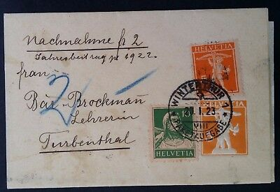 1923 Switzerland Wrapper ties 3 stamps canc Winterthur to Turbenthal