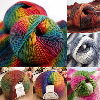 19 Styles Hand-woven Rainbow Colorful Crochet Cashmere Wool Blend Yarn Knitting