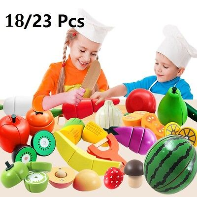 23 Pcs Kids Child Pretend Role Play Kitchen Fruit Vegetable Food Toy Cutting Set