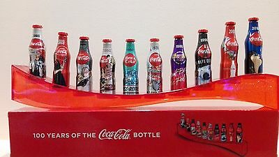 Coca Cola Mini Aluminum Bottle 10 pcs. Determine 1920-2010 with display bridge 8