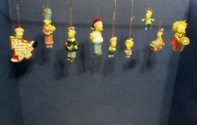 Lot of 9 Simpson's Christmas Ornaments, all in Excellent Condition