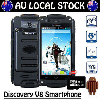 Black Discovery V8 Unlocked Android Rugged 3G Smartphone Tough Mobile Phone+32GB