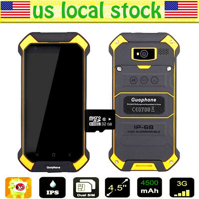 Yellow Discovery V19 Unlocked Android Waterproof Rugged Mobile Smartphone w/32GB