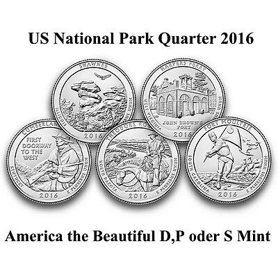 5 x US National Park Quarter 2016, D, P oder S Mint, unc.