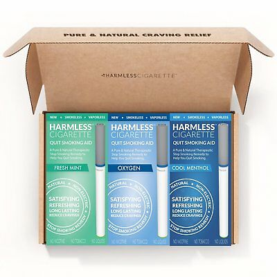 Harmless Cigarette Quit Smoking Aid Variety 3 Pack Mint Menthol and Oxygen