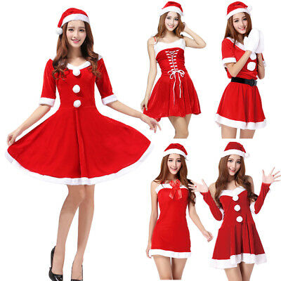 Womens Sexy Santa Claus Christmas Costume Cosplay XMAS Outfit Fancy Dress Set US