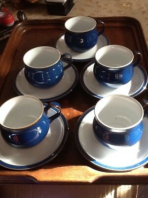 Denby Imperial Blue tea/coffee Cups And Saucers X5