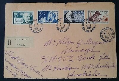 1956 France Registd French Scientists First Day Cover ties set of 4 stamps Paris