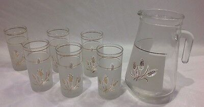 Vintage Retro Jug & Glass Set - Gold Trim Wheat - Frosted Glass - Water Pitcher