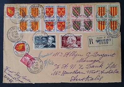1955 France Coat of Arms FDC ties 21 stamps cancelled Paris rue Pelleport