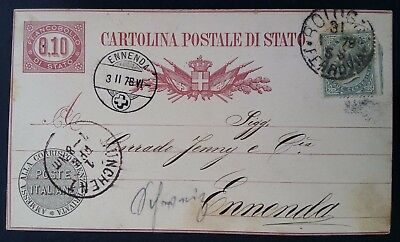 1878 Italy Postcard ties 5c Victor Emmanuel II stamp cancelled Bologna