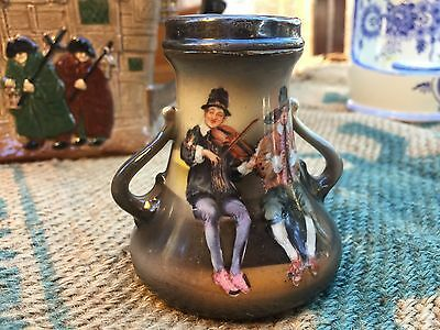 Antique Art Nouveau German Royal Bayreuth Small Vase Featuring Musicians Playing