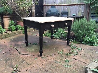 Victorian Farmhouse Antique Pine Scrub Top Kitchen Table with painted legs