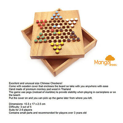Chinese Checkers with Wooden Case MANGO TREES Classic Family Board Game GP424B