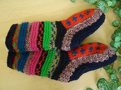 Red Nepal Hand Made Wool Slipper Socks Fleece Lined  Hippy Boho 17/8