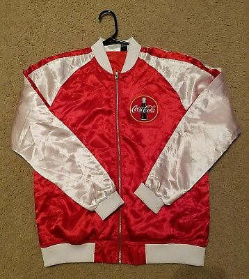 Women's Coca Cola Thirst Quenching Refresh Red White Satin Windbreaker Jacket S