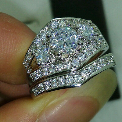 5.50 Ct Round Sim Diamond 14K White Gold Over Wedding Set Bridal Engagement Ring