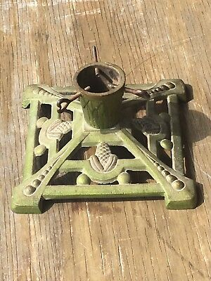 Antique German Cast Iron Tree Stand Unique Small Size All Original
