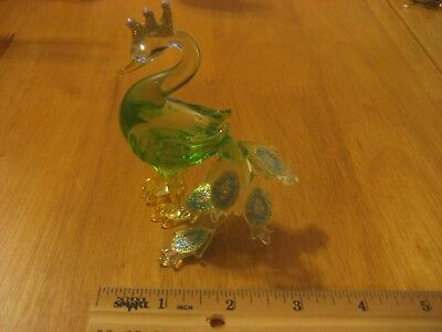 Blown Glass Peacock Clear Light Green Body Yellow Feet Sparkle Tail