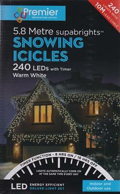 240 LED Supabrights Snowing Icicle Christmas Lights With Timer 5.8M Warm White