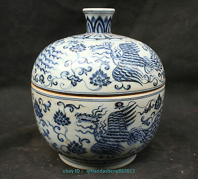Chinese Blue and White Porcelain Glaze Phoenix Pot Jar