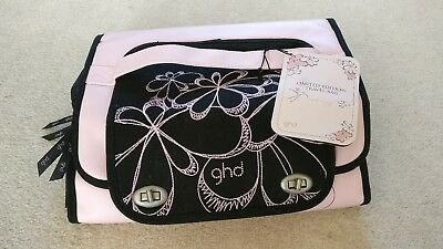Limited edition Pink Black GHD travel carry bag cosmetic make up bag