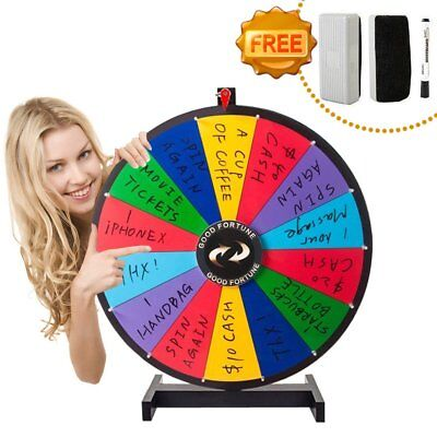 """24"""" Removable Spin to Win Dry Erase Prize Wheel with Color Dry Erase 14 sections"""