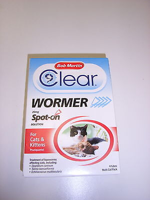 Bob Martin Clear Wormer Spot On Solution Cats Kittens 4 Treatment Pack Tapeworms