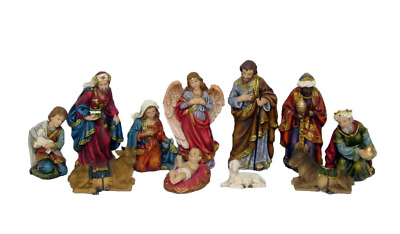 11 Piece Christmas Nativity Figurine Set Hand-Carved Look With Realistic Detail