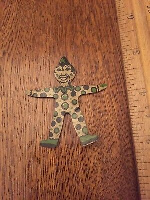 Vintage Tin Litho Cracker Jack Prize Toy Clown
