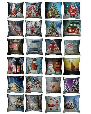 "Xmas Christmas Cosy Luxury Light Up LED Cushions With Fillings - 18"" x 18"""