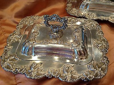 Incredible Pair Antique Sheffield Siverplate Ornate Covered Dishes