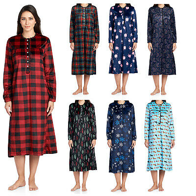 Ashford   Brooks Women s Fleece Long Sleeve Nightgown Lounger Sleep Robe  Dress 95e705c39