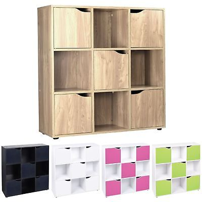 Wooden 9 Cube 5 Doors Storage Unit Cupboard Bookcase Shelving Display Shelves