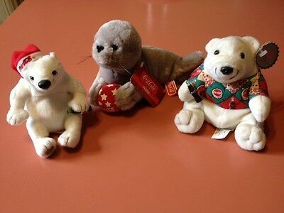 COKE Coca-Cola Brand Plush Stuffed Animals Bean Bags 2x Polar Bears + 1x Walrus