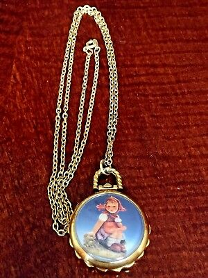 "Vintage M J HUMMEL ""In The Meadow"" Pocket Watch Necklace"