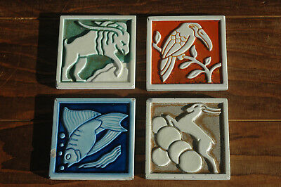 4 x Vintage Antique Henry Richards Tile Company Art Deco Nouveau Tiles