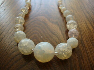 #10 Vintage/Antique Venetian? Glass Beads Necklace Opaque/Glittery/Pearlescent