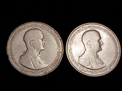 1930 Hungary 5 Pengo Silver Circulated coins - Lot of 2 (LN497)
