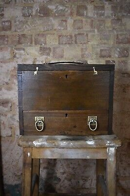 Decorative Antique Vintage Tool Work Box Engineers Wooden Oak Storage chest