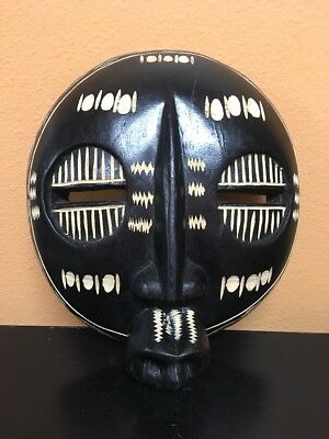 Wooden hand-painted tribal AFRICAN MASK