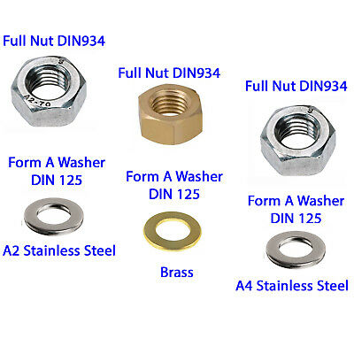 Full Nuts And Form A Washers Stainless Steel and Brass Finish Sizes M2 - M10
