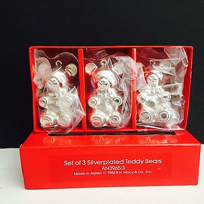 Set of 3 Silverplated Teddy Bear Ornaments, New in Box
